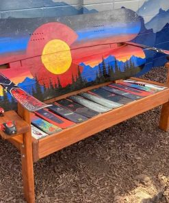 Repuposed snowboard ski bench