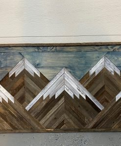 Hand painted Wooden panel mountain wall art