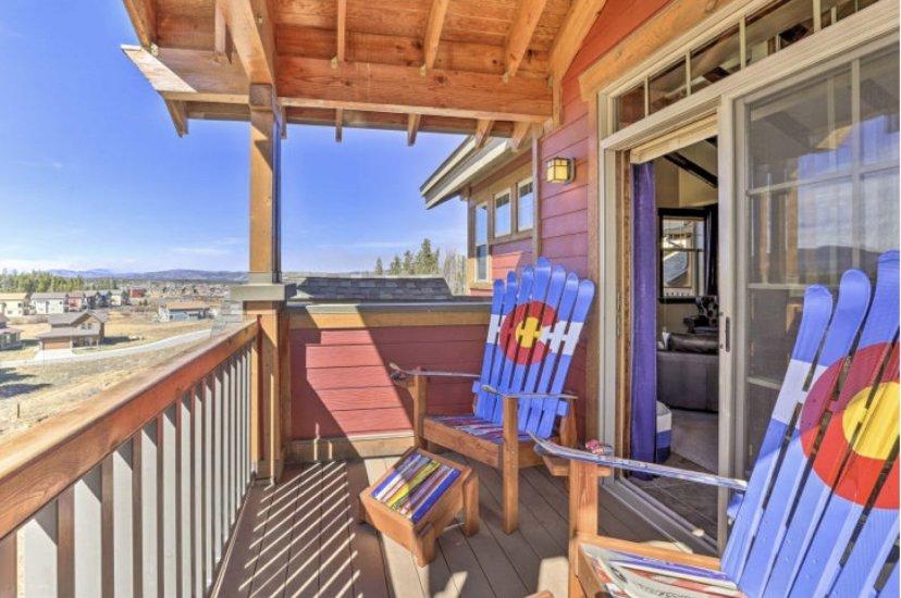 Colorado flag Adirondack ski chairs and ottomans
