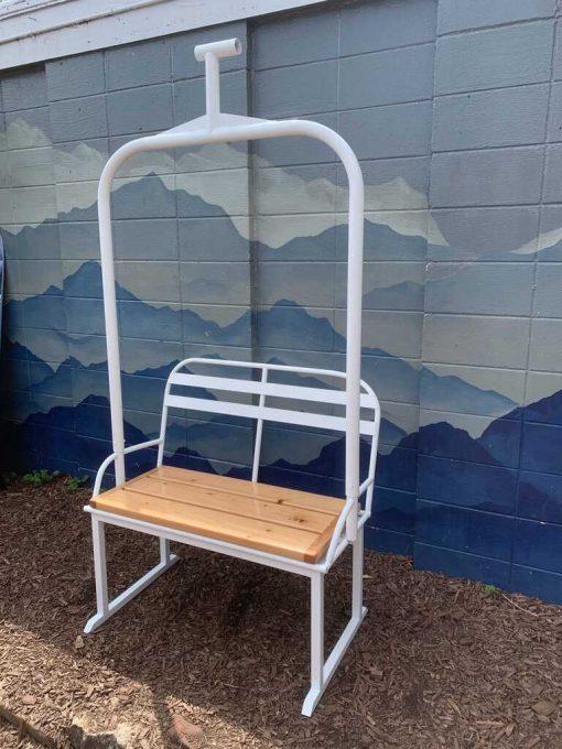 Repurposed metal ski lift bench