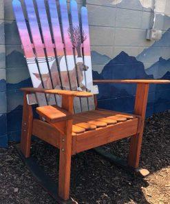 Hand painted Labrador ski chair rocker
