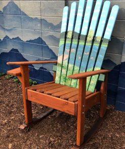 Hand painted dog pond ski chair rocker