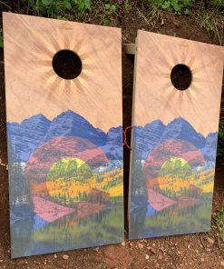 Colorado mountain wooden cornhole boards