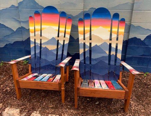 Hybrid ski/snowboard Adirondack mountain range chairs
