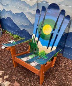 Green/blue Colorado mountain ski chair