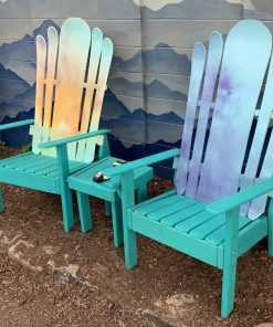 Colorful Adirondack ski and snowboard furniture set