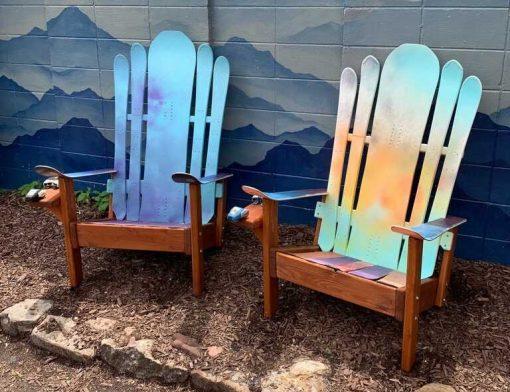 Colorful Adirondack hybrid snowboard/ski chairs