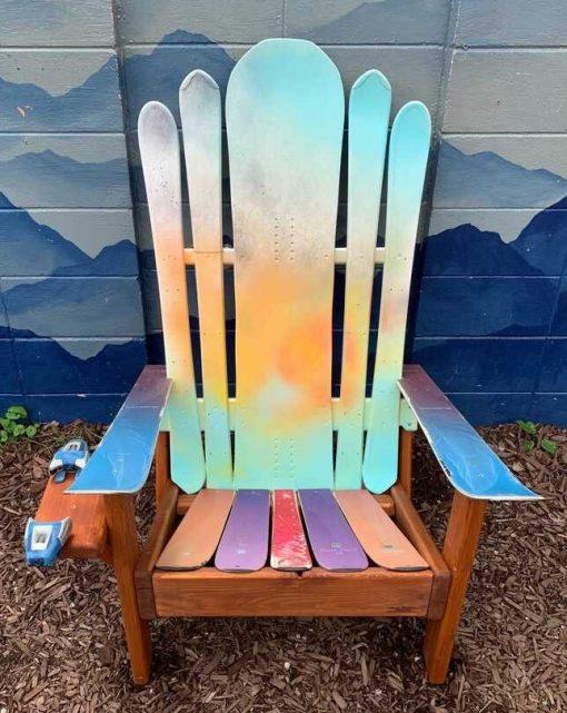 Colorful Adirondack hybrid snowboard/ski chair