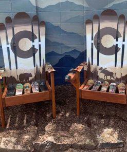 Brown bear and moose Adirondack ski chairs