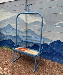 Repurposed metal Colorado ski lift bench