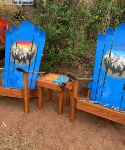 Hqnd painted Blue mural Adirondack ski chairs