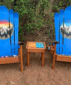 Blue mural Adirondack ski chairs