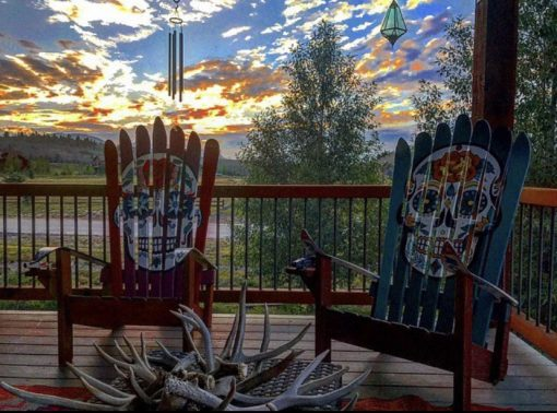 Repurposrd Sugar skull ski rocking chairs