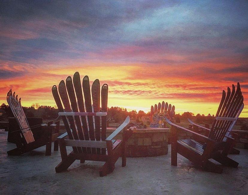 Adirondack chair sunset display