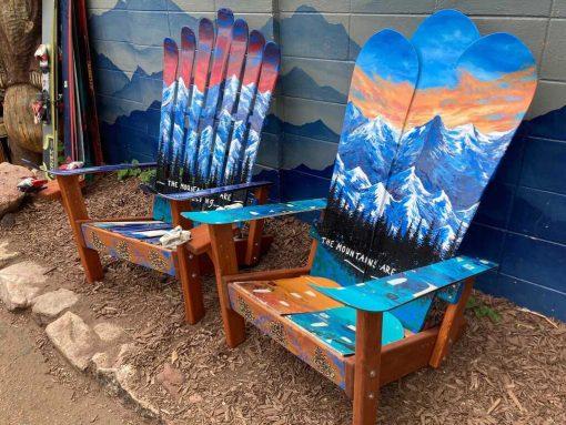 Colorado mountain mural ski chairs