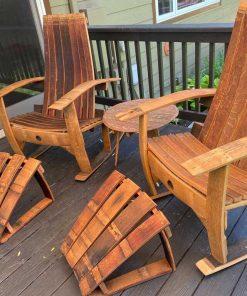 Rustic repurposed wine barrel furniture set