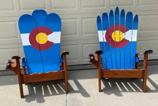 Classic Colorado flag Adirondack ski and snowboard chairs