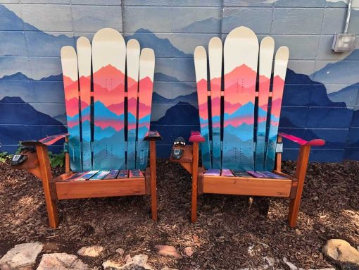 Mountain mural Hybrid Adirondack ski/snowboard chairs