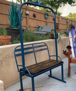 Repurposed metal ski lift bench (navy)