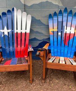 Texas flag mural ski chair set