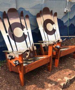 Brown bear and Bigfoot Adirondack hybrid ski/snowboard chairs
