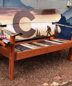 Brown sasquatch Adirondack snowboard bench
