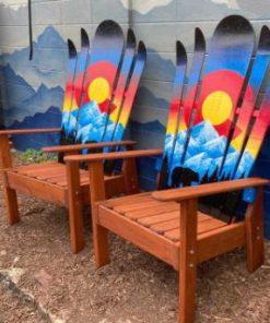 Bear sunset silhouette Adirondack hybrid ski/snowboard chairs