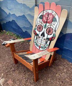 Pastel sugar skull Adirondack ski chair