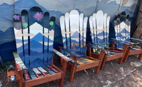 Mystic mountain Adirondack hybrid ski/snowboard chair set