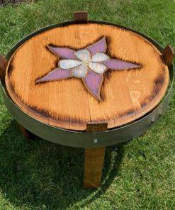 Columbine wine barrel side table