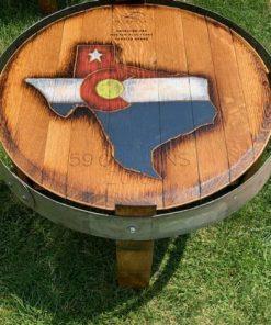 Texas wine barrel side table