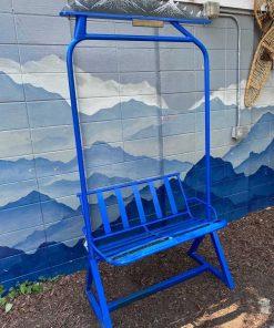 Repurposed Blue powdered metal ski lift bench