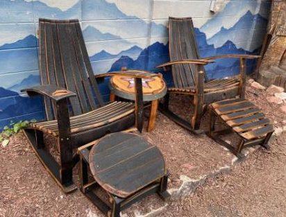 Rustic Repurposed whiskey barrel furniture set
