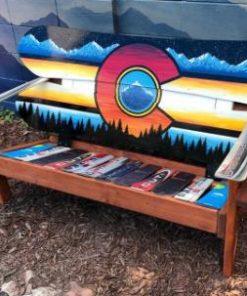 Colorado retro mural snowboard bench