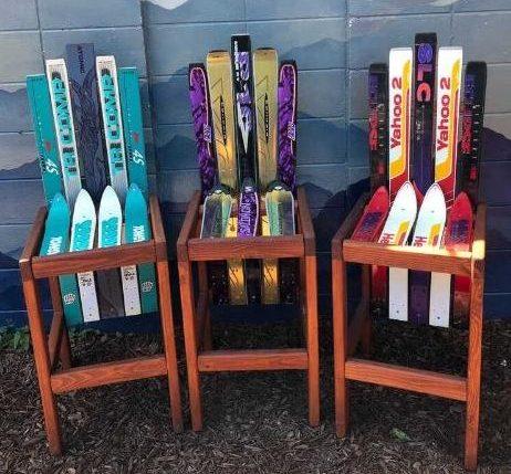 Repurposed ski barstool chairs