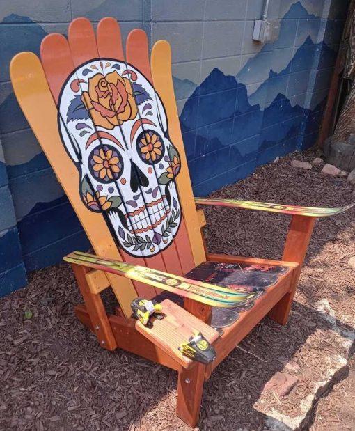 Vivid Orange sugar skull ski chair