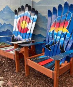 Colorado Bigfoot mountain mural Adirondack ski chair set