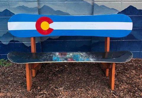 Classic Colorado flag double snowboard bench