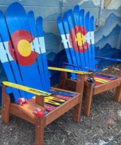 Classic Colorado flag Adirondack ski chairs