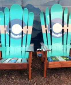 Colorado Green, beige, and grey hybrid Adirondack ski/snowboard chairs