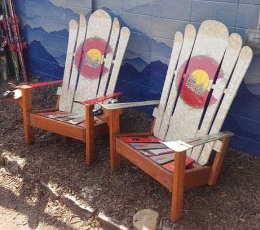 White Colorado pinecone Adirondack hybrid ski/snowboard chairs