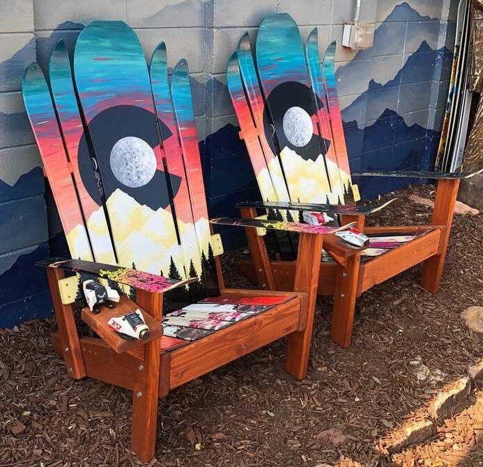 Teal Colorado sunset moon Adirondack hybrid ski/snowboard chairs