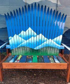 Nordic mountain mural Adirondack ski bench