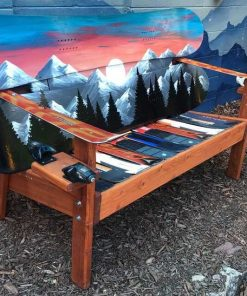 Sunset mountain mural Colorado snowboard bench