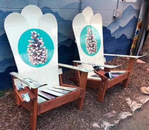 Pinecone mural Adirondack snowboard chairs
