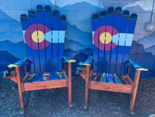 Off center Colorado flag Adirondack ski chairs
