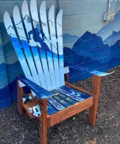 Snowy mountain skier Adirondack ski chair