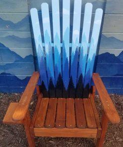 Blue quadruple forest mural Adirondack chair