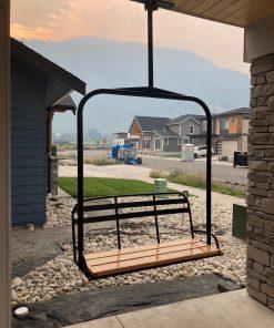 Outdoor metal ski lift hanging bench