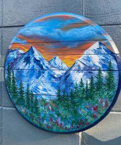 Blue Colorado Mountain Sunset Barrel top Wall art